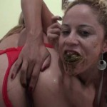 Two brasilian scat lesbians are performing a dirty piss and poo session – Part 1