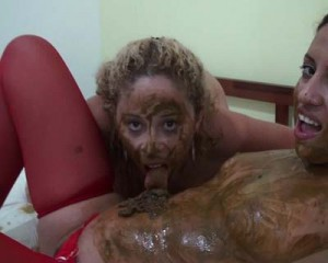 Two brasilian scat lesbians are performing a dirty piss and poo session – Part 2