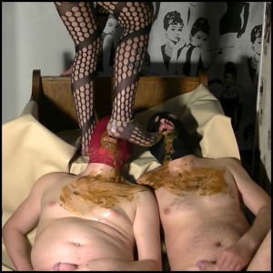 Full toilet action with Godess 2 slaves Full HD 1080 (Human Toilet, Femdom, Piss)