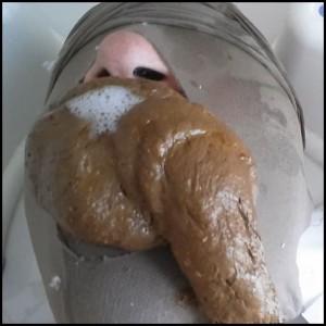I stuff him full with my morning shit Full HD 1080 (Scat, Mistress, Toilet)