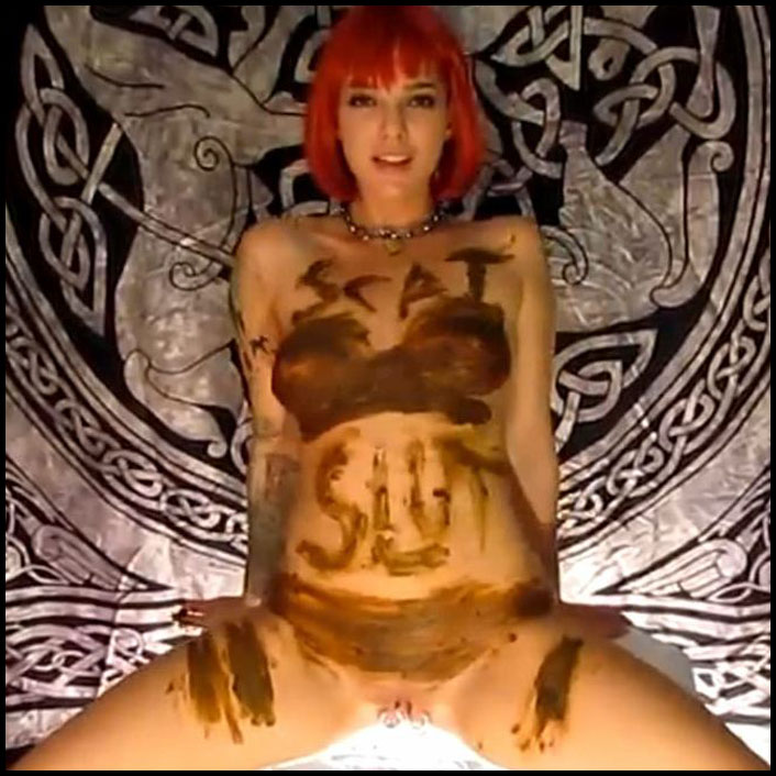 Scat slut smears her meat poop all over her tits (Full HD 1080) Solo, Big Pile, Pissing